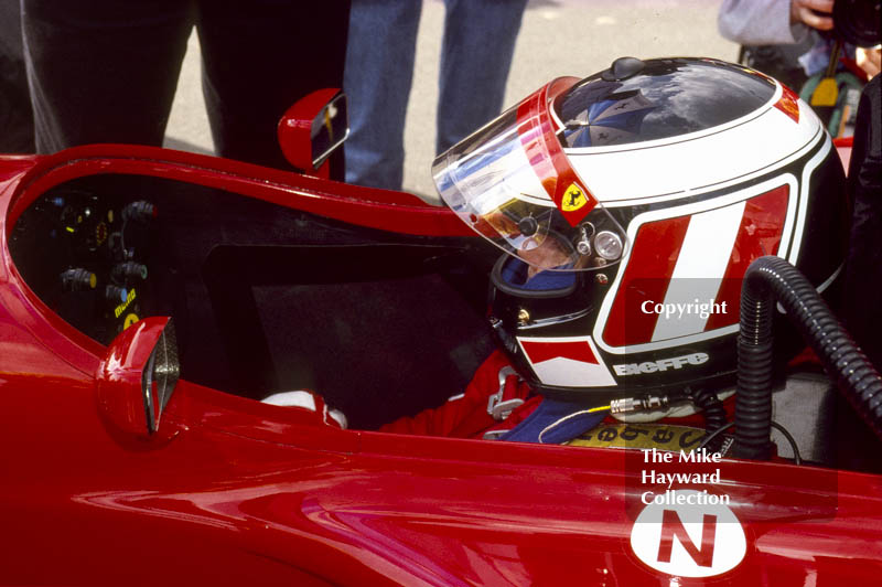 Gerhard Berger waiting in the pit lane, Ferrari 412T2, Silverstone, 1995 British Grand Prix.