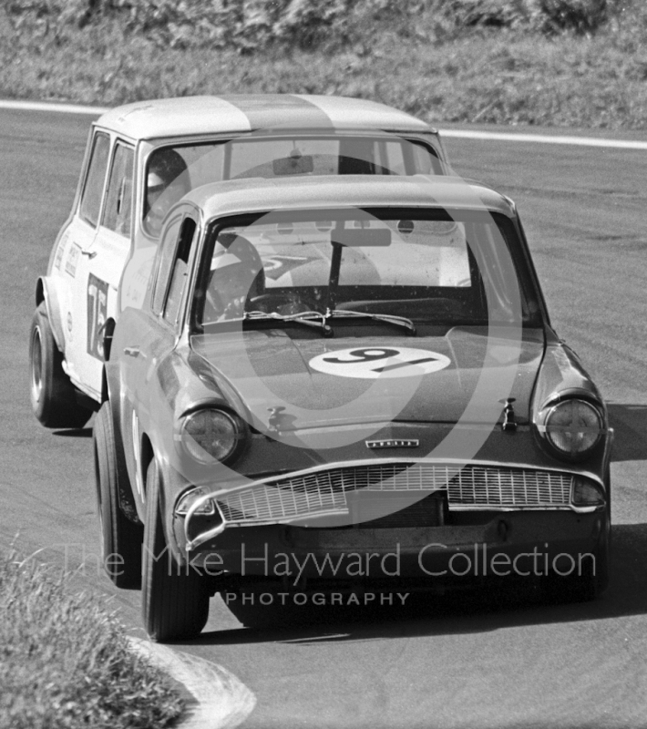 Dave Pearson, Ford Lotus Anglia and Davy Muter, Mini Cooper S, Special Saloon Car Race, Peco Trophy meeting, Oulton Park, 1968