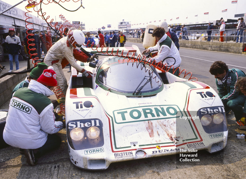 Walter Brunn/Thierry Boutsen, Porsche 956, showing signs of a hairy moment with one of Silverstone's residents, World Endurance Championship, 1985 Grand Prix International 1000km meeting.