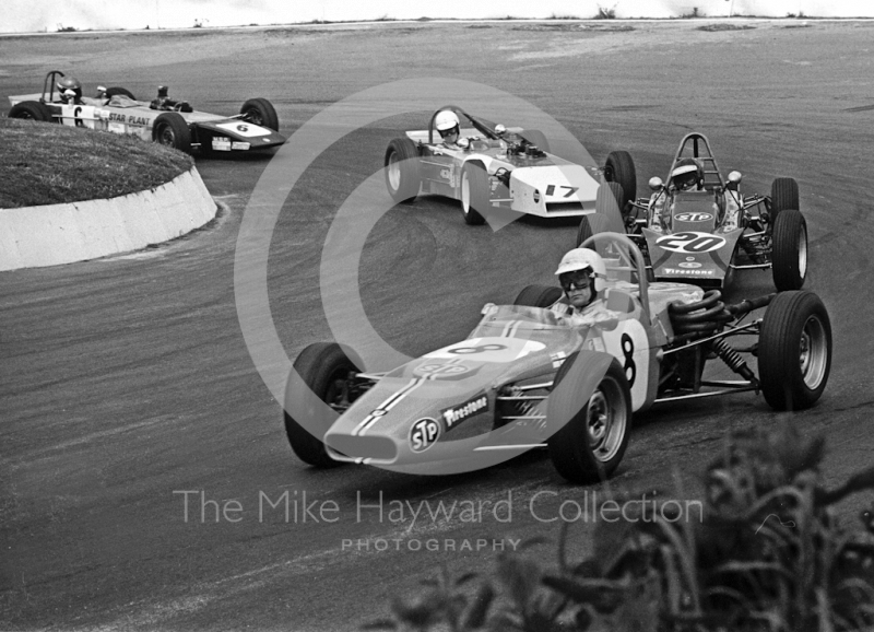 Mark Litchfield, Crossle 20F, Jeremy Gambs, Lotus 61M, Paul Ellis, U2 Mk 9 and Stephen Russell, Mallock U2 MK9B, Formula Ford, Mallory Park, May, 1971