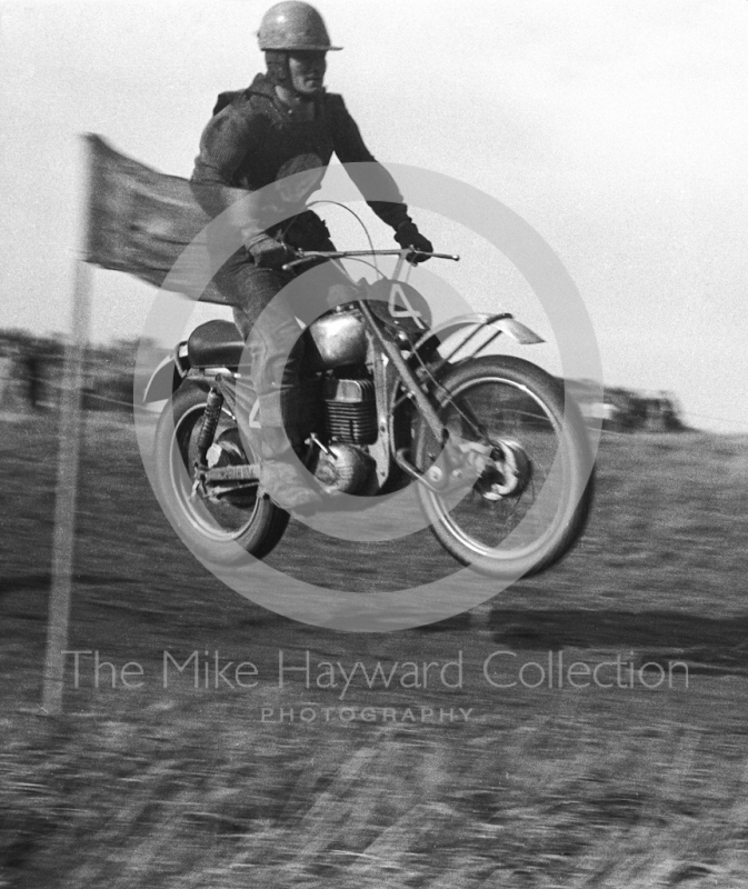 A solo rider, motorcycle scramble at Spout Farm, Malinslee, Telford, Shropshire between 1962-1965