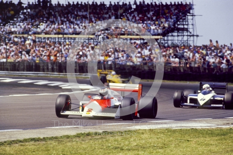 Stefan Johansson, Marlboro McLaren MP4-3, at Copse Corner before retiring with engine trouble on lap 18, British Grand Prix, Silverstone, 1987