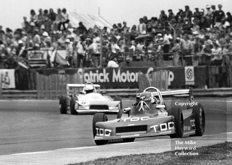 Mike Thackwell, March Racing Ltd 793 Toyota, followed by Jorge Caton, Equipo Nacional Espanol Ralt RT1, Formula 3 race, Silverstone, British Grand Prix 1979.