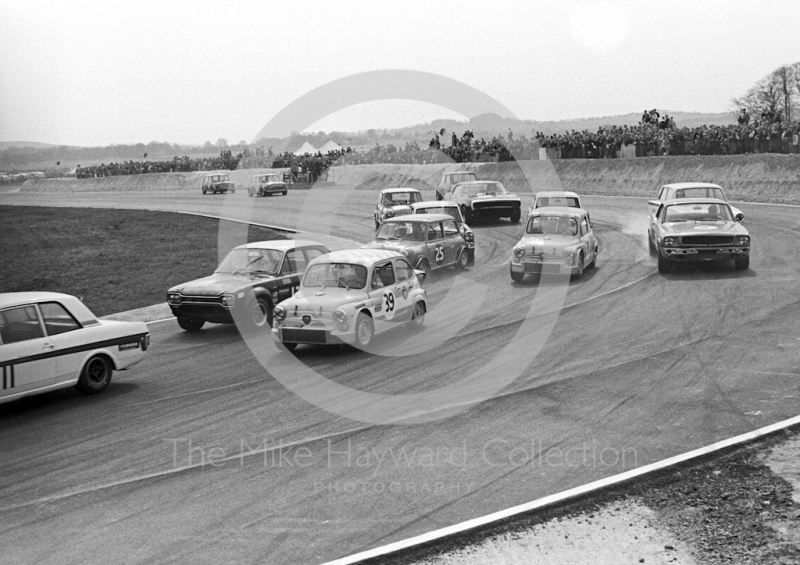 On the first lap at Campbell Bend are Ab Goedemans, SRT Holland Fiat Abarth 1000 Berlina, John Fitzpatrick, Broadspeed Ford Escort, Tony Youlten, Cars and Car Conversions Mini Cooper S, and Toine Hezemans, SRT Holland Fiat Abarth 1000 Berlina, Thruxton Easter Monday meeting 1968.