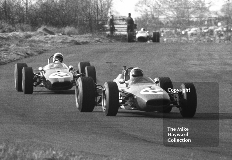 Dave Williamson, P and M Racing Brabham BT21B, and Howden Ganley, Brabham BT21, BRSCC Trophy, Formula 3, Oulton Park, 1968.