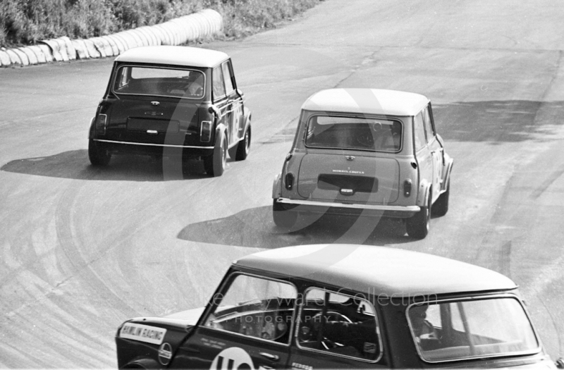 John Rhodes, works Mini Cooper S, and Peter Lague, Ian Bax Morris Mini Cooper S, leave the hairpin at Mallory Park, BRSCC 4000 Guineas 1968.