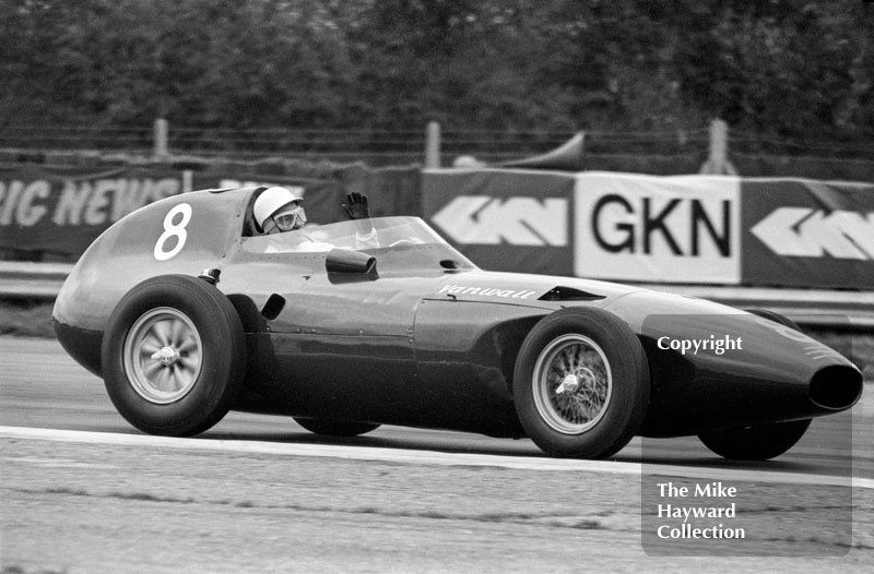 Stirling Moss demonstrating a Vanwall at the 1972 International Trophy, Silverstone.