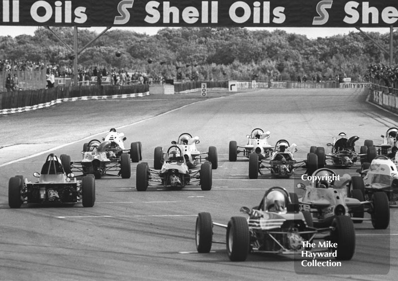 Formula Ford cars on the grid, Tourist Trophy meeting, Silverstone, 1984.
