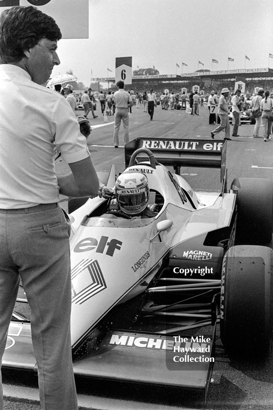 Alain Prost on the grid, Renault RE40, 1983 British Grand Prix.