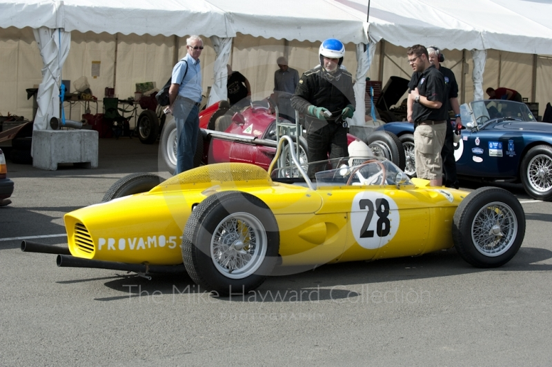 1961 Ferrari 156 of Iain Rowley in the paddock at Silverstone Classic 2010
