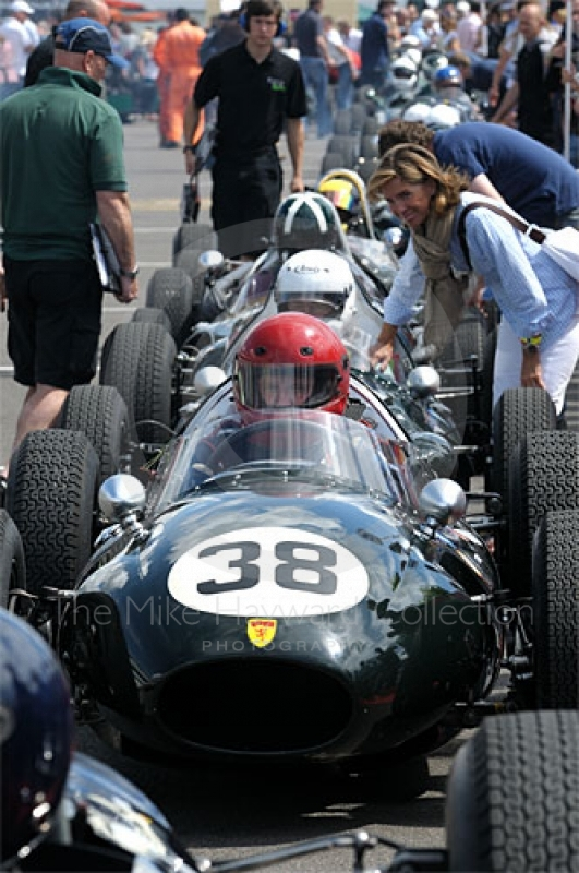Tony Ditheridge, 1958 Cooper T45, lines up in the paddock prior to the HGPCA pre-1966 Grand Prix Cars Race, Silverstone Classic 2009.
