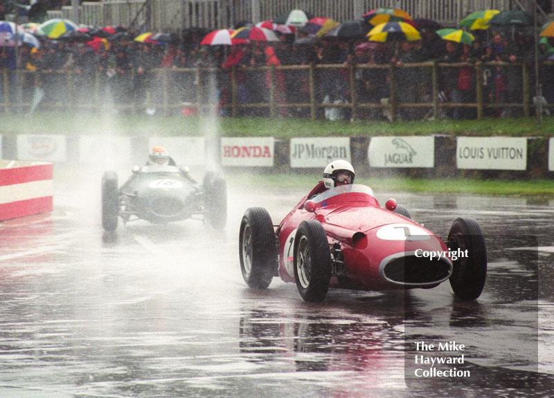 Stirling Moss, Maserati 250F, leads Philip Walker, Lotus 16 Climax, through the chicane, Richmond and Gordon Trophies, Goodwood Revival, 1999