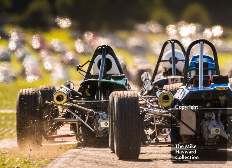 Formula Fords exiting Old Hall Corner at the 2016 Gold Cup, Oulton Park.