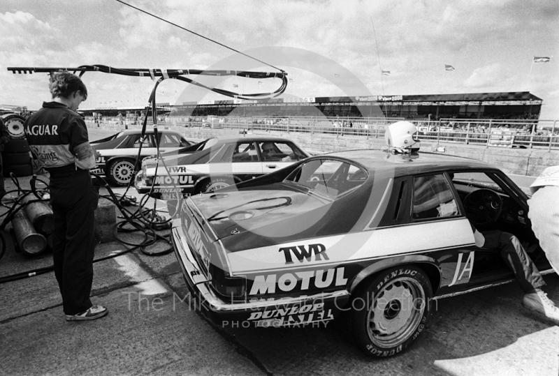 Win Percy/Chuck Nicholson, Enzo Calderari/David Sears and Tom Walkinshaw/Hans Heyer Jaguar XJS HEs in the pits, Istel Tourist Trophy,European Touring Car Championship, Silverstone, 1984