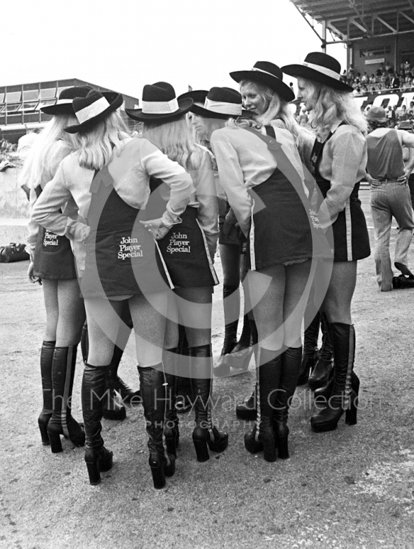 JPS girls in the paddock at Brands Hatch, British Grand Prix 1974.