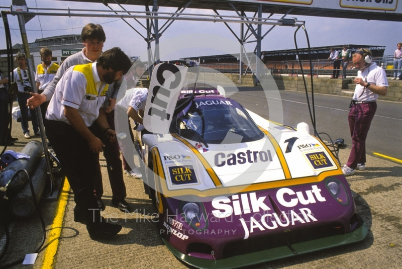 Silk Cut Jaguar XJR-9 in the pits, Silverstone 1000km FIA World Sports-Prototype Championship (round 4).