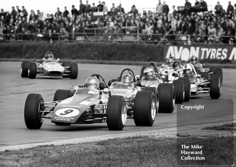 Bev Bond, Ensign LNF1, followed by Barrie Maskell, Chevron B18, and Freddy Kottulinsky, Lotus 69, GKN Forgings Trophy, International Trophy meeting, Silverstone, 1971.
