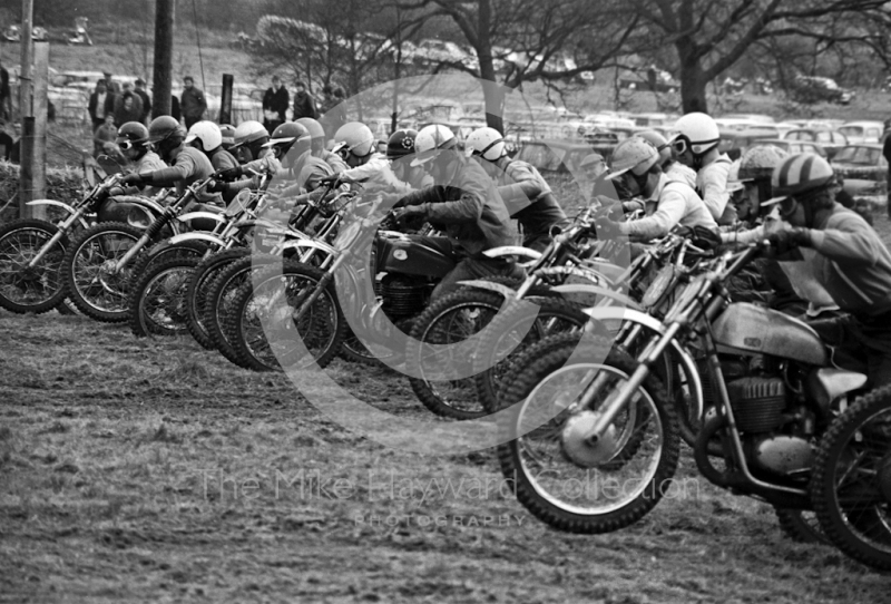 The start of a solo race, ACU British Scramble Sidecar Drivers Championship meeting, Hawkstone Park, 1969.
