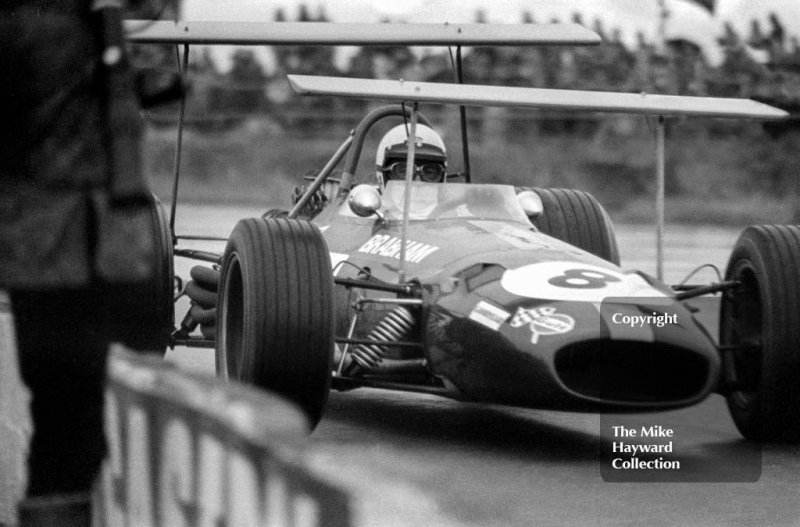 Race winner Jack Brabham, Brabham BT26 A/2, at Copse Corner, Silverstone, International Trophy 1969.