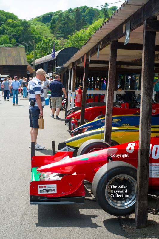 1600-2000cc cars in the paddock, Shelsley Walsh Hill Climb, June 1, 2014.