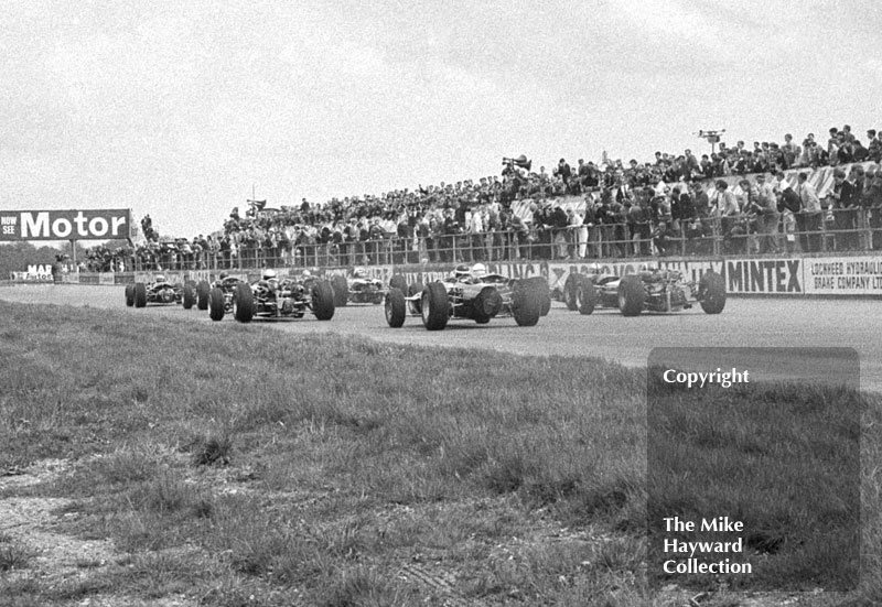 The start of the 1966 International Trophy, Silverstone, with Vic Wilson and Jo Siffert bringing up the rear.