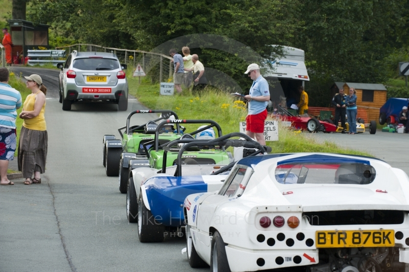 Cars queue in the paddock, Hagley and District Light Car Club meeting, Loton Park Hill Climb, August 2012.
