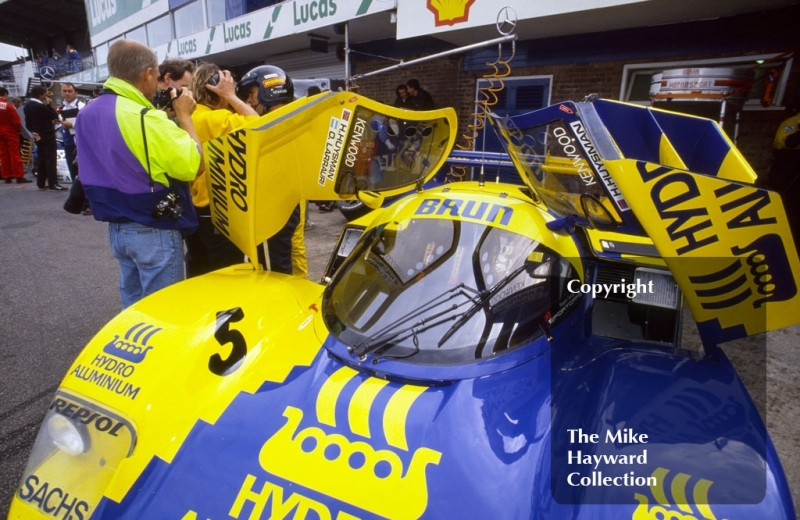 The Brun Porsche 962C of Oscar Larrauri and Harald Huysman in the pits, Wheatcroft Gold Cup, Donington Park, 1989.