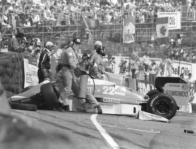 Allen Berg's Osella after first lap accident, Brands Hatch, British Grand Prix 1986.