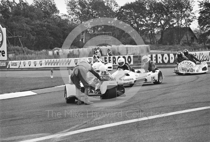 Sidecar spins at the chicane, Donington Park 1980.