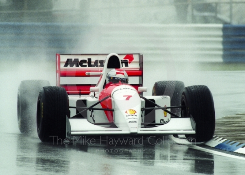 Michael Andretti, McLaren MP4-8, seen during qualifying for the 1993 British Grand Prix at Silverstone.
