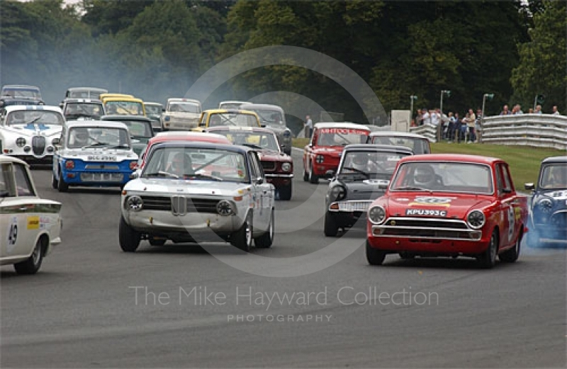 Stuart Rider, BMW 2000 and Peter Lanfranchi, Lotus Cortina, HSCC Historic racing Saloons, Oulton Park Gold Cup, 2003