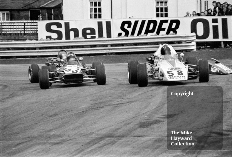 Rikki Van Opel, Iberia Airlines Ensign F372, followed by Barrie Maskell, Travisco Racing Lotus 69, Oulton Park, 1972 John Player Formula 2 meeting.