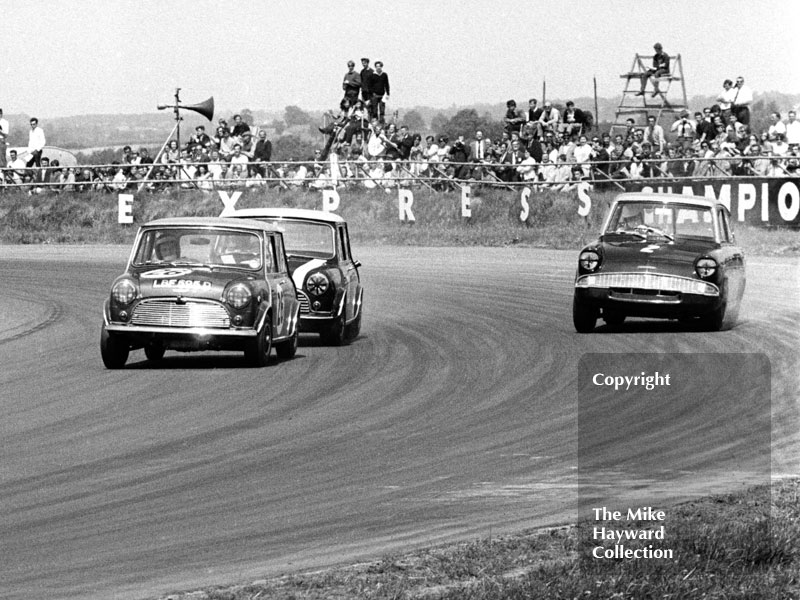 Steve Neal, Equipe Arden Mini Cooper S, and John Fitzpatrick, Broadspeed Ford Escort, Ovaltine Trophy Touring Car Race, Silverstone, British Grand Prix, 1967.
