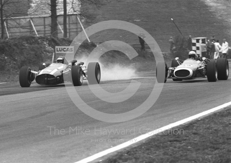 Jochen Rindt, Cooper Maserati T81 V12, leads Chris Lawrence, Pearce Cooper Ferrari T73, into Druids Hairpin, Brands Hatch, Race of Champions 1967.