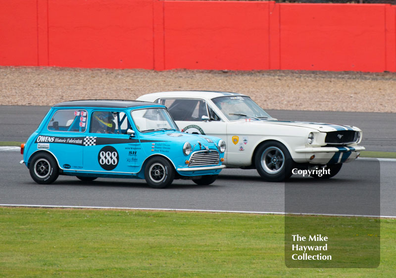 Gregory Thornton, Ford Mustang, Daniel Wheeler, Austin Mini Cooper S, Big Engined Touring Cars race, 2016 Silverstone Classic.