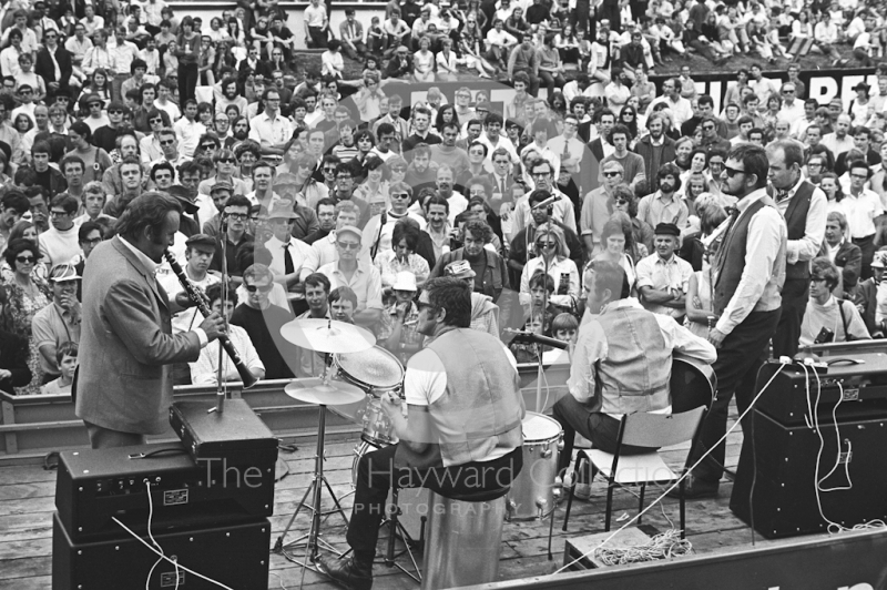 The Acker Bilk Jazz Band entertain after the race, Brands Hatch, British Grand Prix 1970.