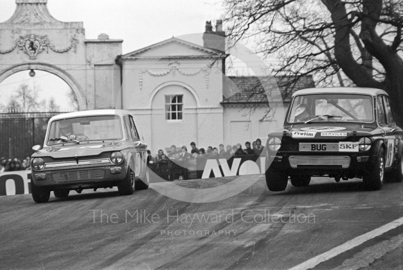 Juhani Kynsilento, George Bevan Sunbeam Imp, and Trevor Wilcox, Hillman Imp, at Oulton Park, Rothmans International Trophy meeting 1971.