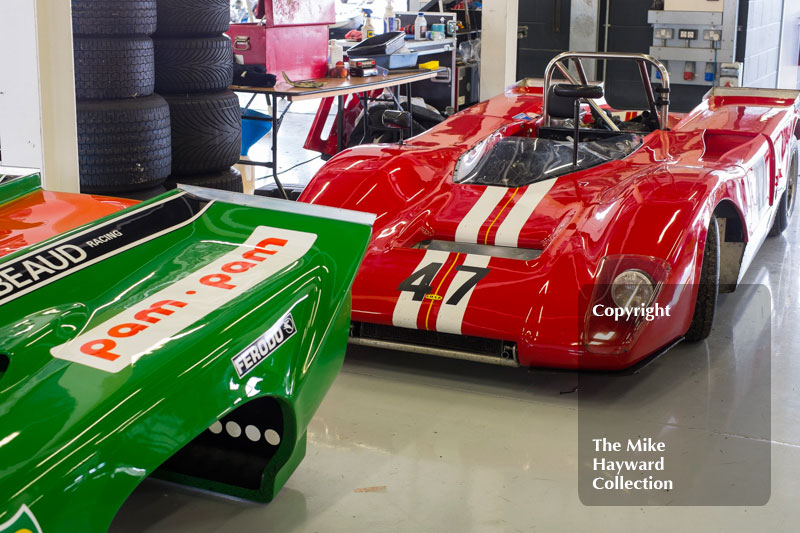 Nick Pink's Lola T210 in the pits at the 2016 Silverstone Classic.