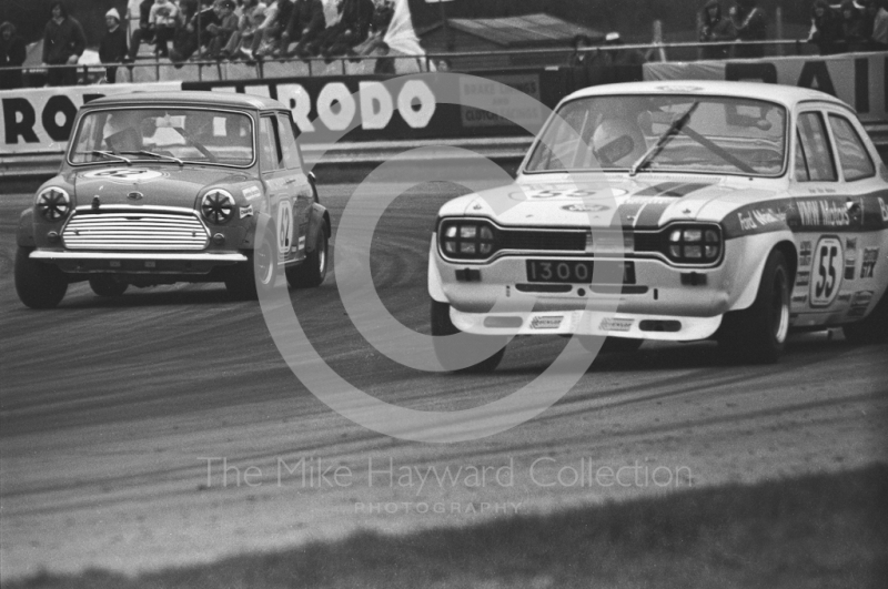 Vince Woodman, Team Broadspeed Ford Escort, and Richard Longman, Mini Cooper S, Silverstone International Trophy meeting 1972.