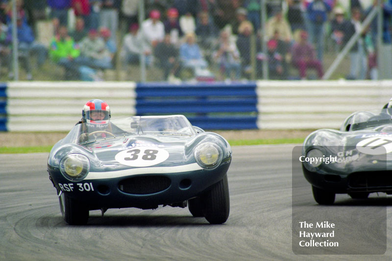 John Harper, D-Type Jaguar (RSF 301), 1993 Labatts World Endurance 1950's Sports Car Race, 1993 British Grand Prix, Silverstone.