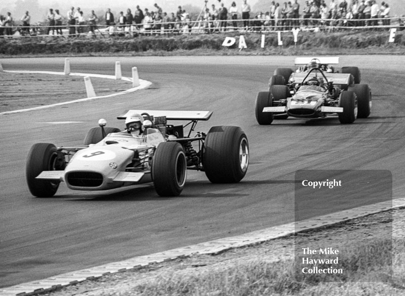 Willie Forbes, Lola T142, and David Prophet, McLaren M10B Chevrolet, 1970 Martini International Trophy, Silverstone