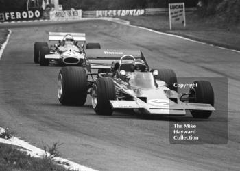 Jochen Rindt, Gold Leaf Team Lotus 72C V8, leads Jack Brabham, Brabham BT33 V8, British Grand Prix, Brands Hatch, 1970