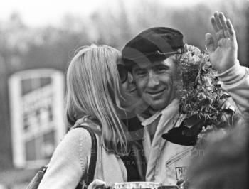 Jackie Stewart gets a kiss from his wife, Helen, after winning the Formula One Race of Champions, Brands Hatch, 1970
