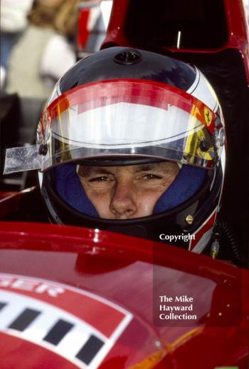 Gerhard Berger in the pits, Ferrari 412T2, Silverstone, 1995 British Grand Prix