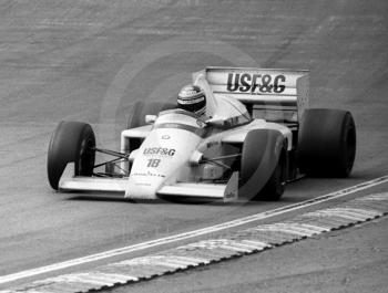 Thierry Boutsen, Arrows A8, Paddock Bend, Brands Hatch, 1985 European Grand Prix