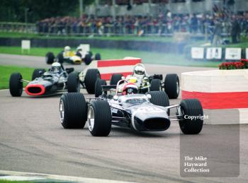 Geoff Farmer, Rob Walker Lotus 49B, leads through the chicane, Glover Trophy, Goodwood Revival, 1999.