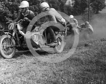 Dennis 'Wacker' Westwood and Monty Hughes, 650cc Wackman, bring up the rear, Kinver, Staffordshire, 1964.