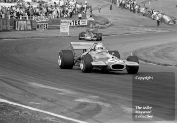 Jack Brabham, Brabham BT33, followed by Jochen Rindt, Lotus 72C,1970 British Grand Prix, Brands Hatch.