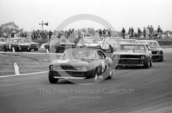 Brian Muir, Wiggins Teape Chevrolet Camaro, and Roy Pierpoint, Bill Shaw Chevrolet Camaro, Martini Trophy meeting, Silverstone, 1970.