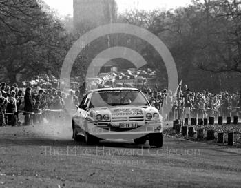 Jimmy McRae and Ian Grindrod (GG CN 346), Rothmans Opel Manta 400, 1983 Lombard RAC Rally, Sutton Park.